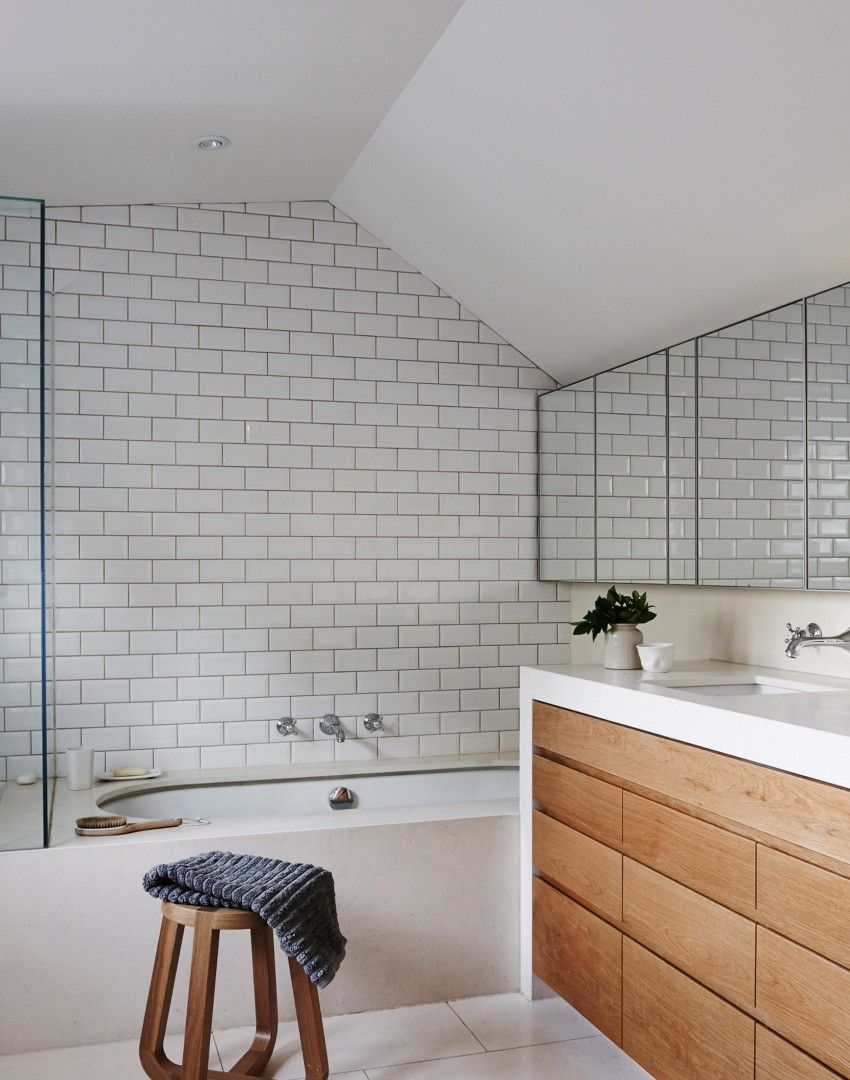modern bathroom with white metro tiles