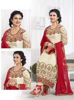 DAZZLING DAILY WEAR CASUAL CHINON GEORGETTE STRAIGHT SALWAR KAMEEZ SUIT WITH CHIFFON DUPATTA