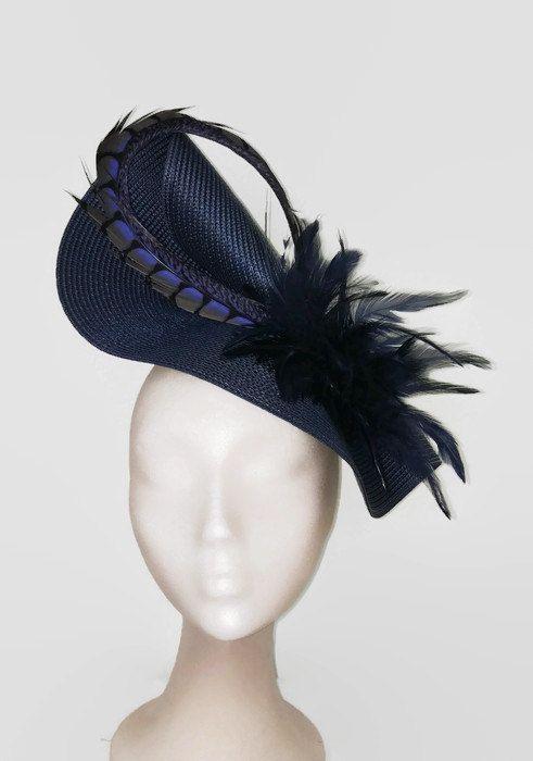 3f8ce2525fa Tocado de boda azul marino tocados azul marino tocado por Tocchic Navy  Wedding Hat