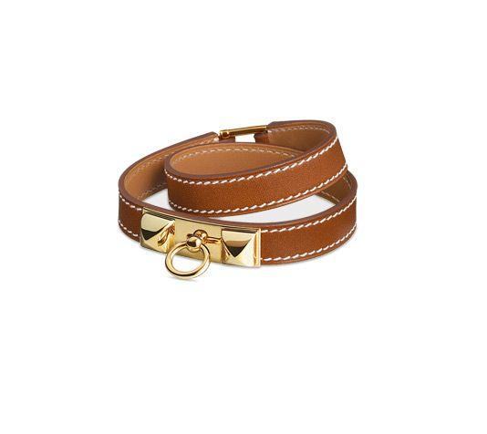 Rivale Hermes leather bracelet (size S) Natural tadelakt calfskin Gold  plated hardware, double tour, 14