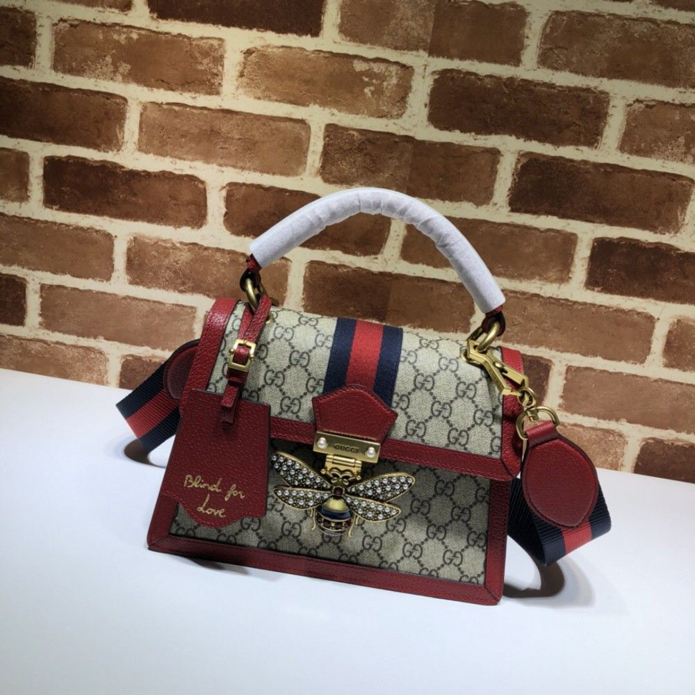 63a2e892bef0 Gucci Queen Margaret GG small top handle bag 476541 Red Leather ...