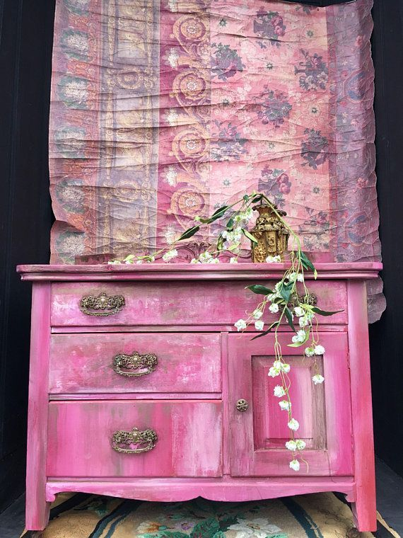 Painted Bohemian Pink Vintage Bedside Table Shabby Chic #ad