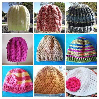 A Cor da Lã  Gorros em tricot e crochet para adultos e crianças ... 594cf7e822d