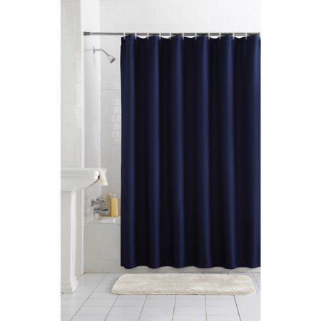 Mainstays Waffle Fabric Shower Curtain Collection Blue