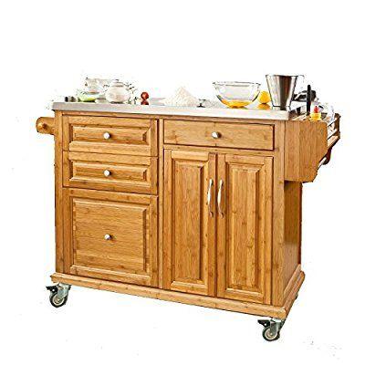 SoBuy® Luxus-Küchenwagen aus hochwertigem Bambus mit - küche mit edelstahl arbeitsplatte