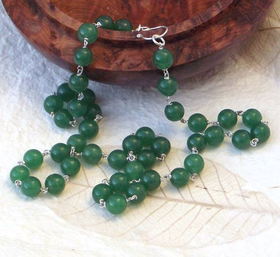 Green jade long necklace with sterling silver clasp by graciedot, £30.00