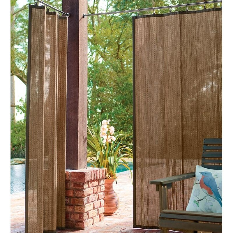 Outdoor bamboo curtain panel 40 w x 63 l collection for Outdoor bamboo screen panels