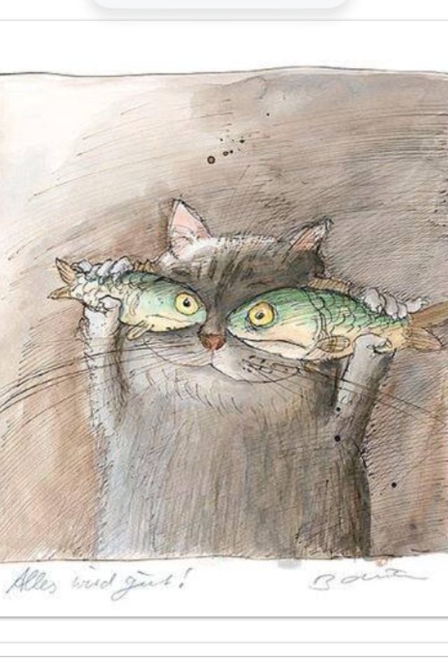 #Fishes and #cat #funny #illustration