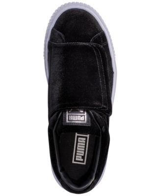 a955e7e7062 Puma Women s Basket Platform Strap Velvet Rope Casual Sneakers from Finish  Line - Black 7.5