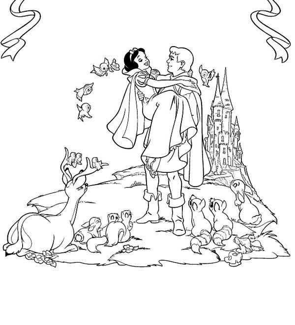 Snow White The Prince Want To Take Snow White To His Castle Coloring Page Snow White Coloring Pages Disney Princess Coloring Pages Disney Coloring Pages