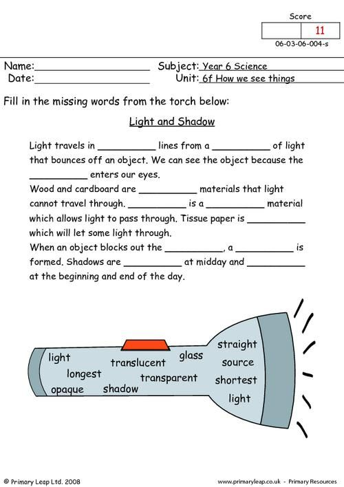 PrimaryLeap.co.uk - Light and shadow Worksheet | 4th Science and ...