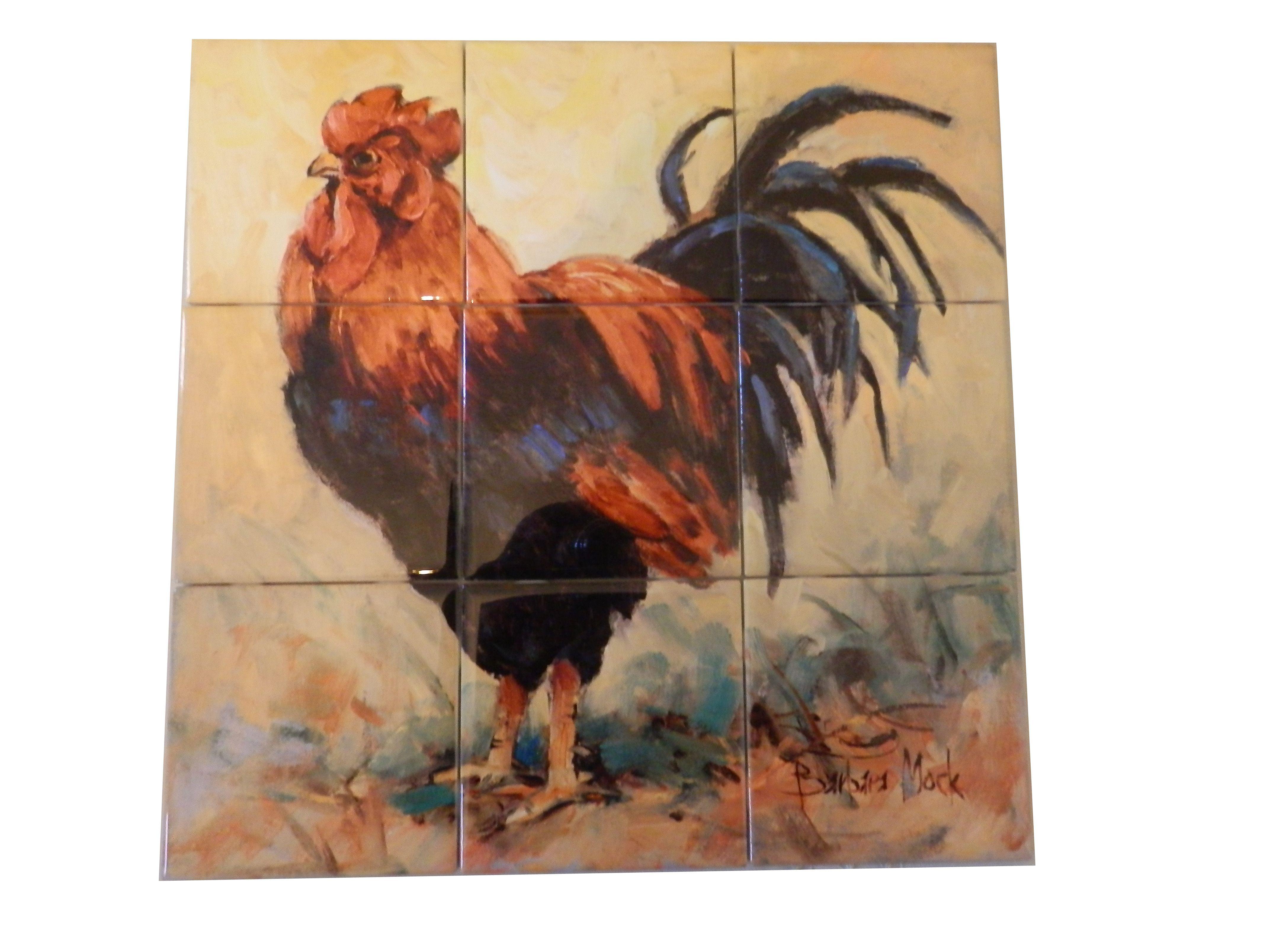 - Rooster Rules II-BM - Tile Mural Tile Murals, Decorative Tile