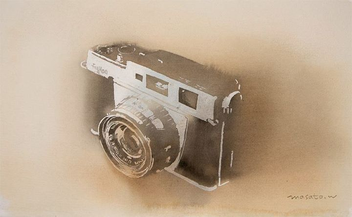 A father's camera. F3 Watercolor   父親のカメラ 水彩   water color painting by Masato Watanabe