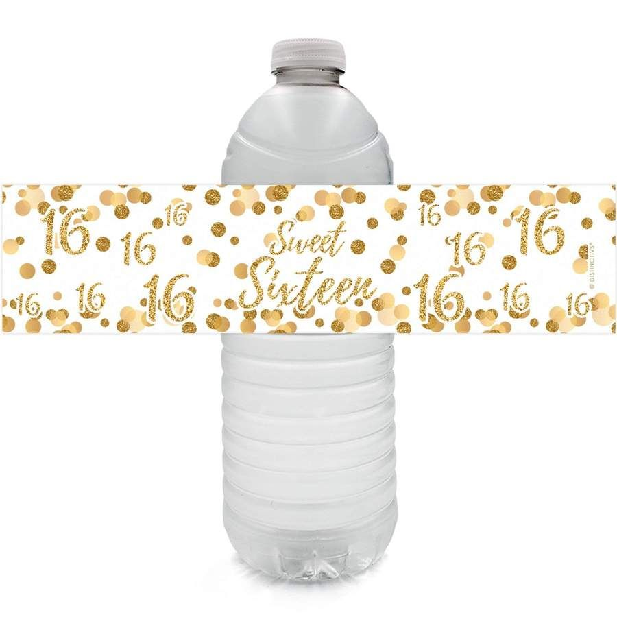 Sweet 16 Party Water Bottle Labels, White and Gold - 24 Count