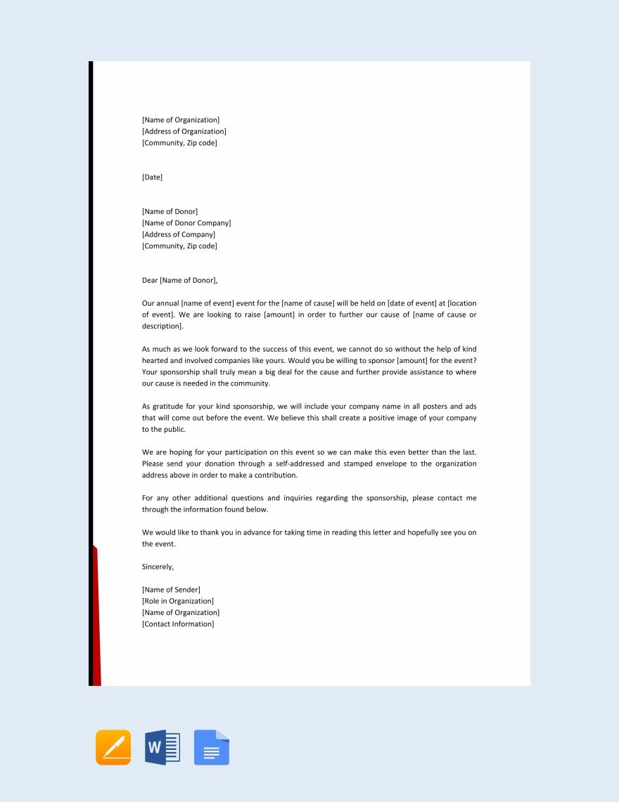 Free Event Sponsorship Letter Event Sponsorship Donation Letter