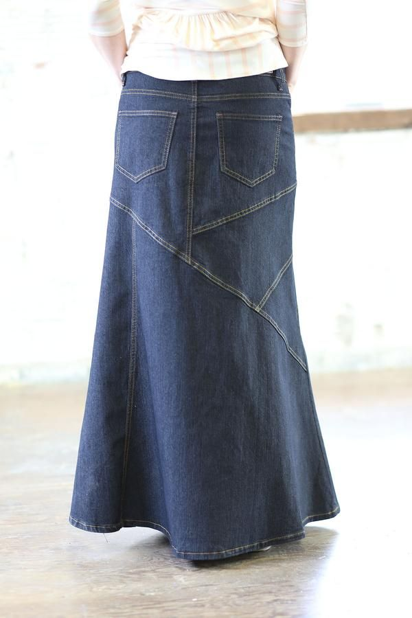 Maurice Long Jean Skirt | Dark Wash Modest Denim Sizes 6-18 |Western Long Denim Skirts Modest