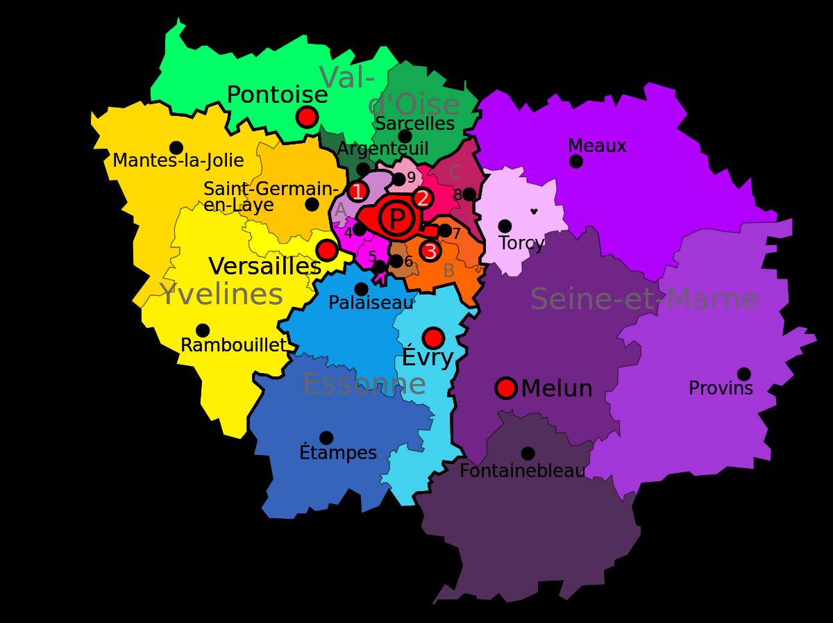 Geographie De L Ile De France Wikipedia Ile De France Ile De France Carte Carte Des Regions