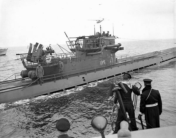 Surrender of the German submarine U-889 off Shelburne, Nova Scotia, May 13, 1945.