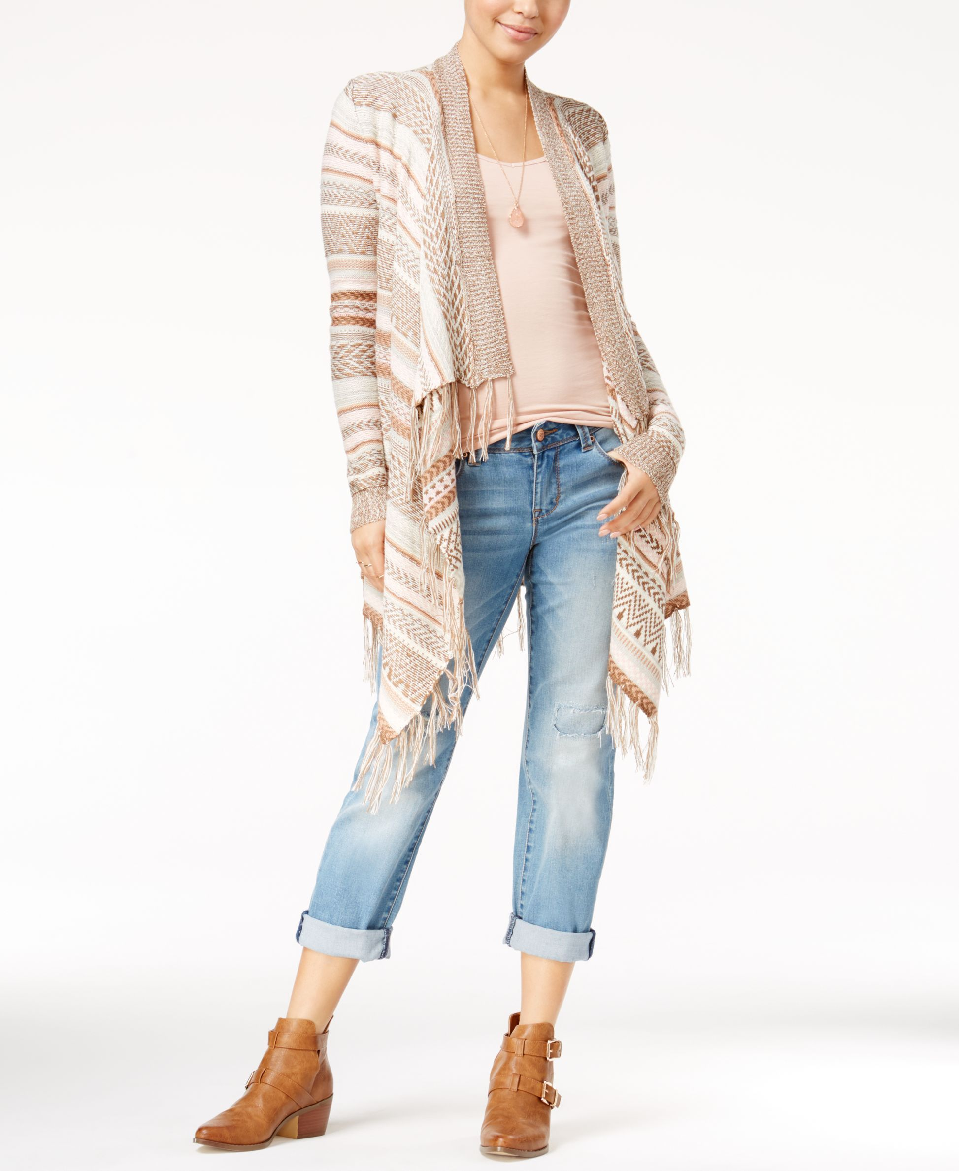 Almost Famous Juniors' Striped Fringe Waterfall Cardigan | Cardies ...