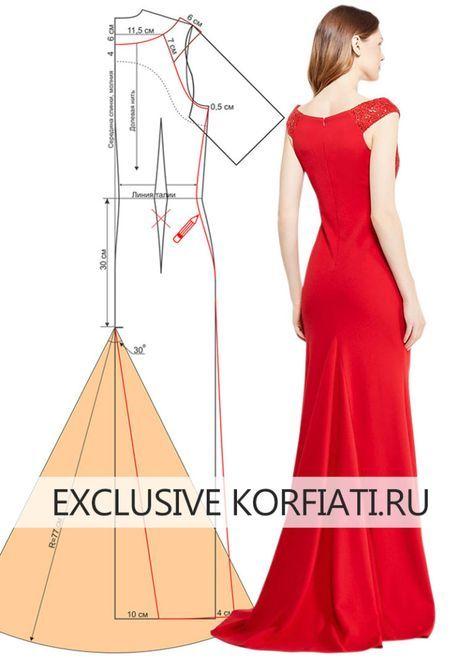 Как сшить праздничное платье со шлейфом - выкройка А. Корфиати | los ...