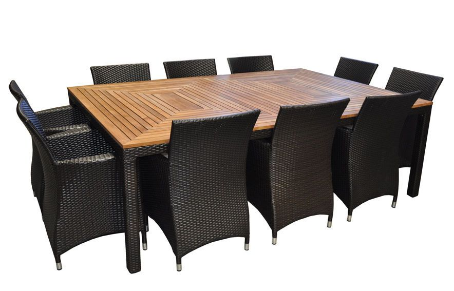 Outdoor Wicker 10 Seater Teak Timber Dining Table And Chairs Furniture Setting