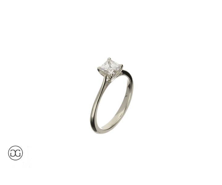 engagement ring white gold 750 solitär diamond  princess-cut 0,75ct