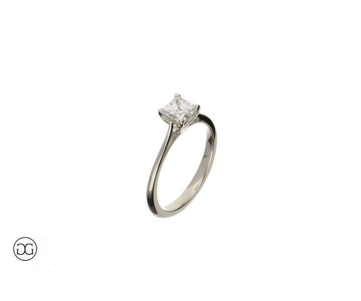engagement ring white gold 750 solitär diamond  princess-cut 0,75ct