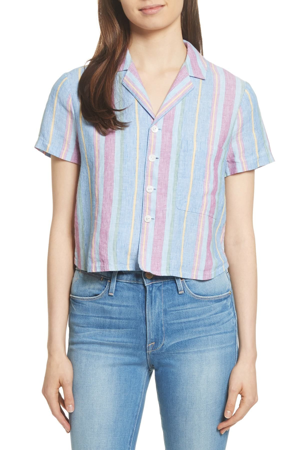 ab79eecd4e Image of Frame Denim Stripe High Low Linen Shirt