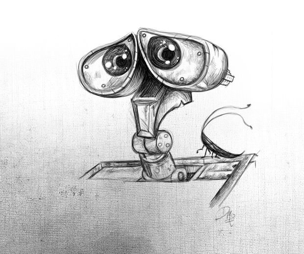 Pencil sketch wall e by david mott