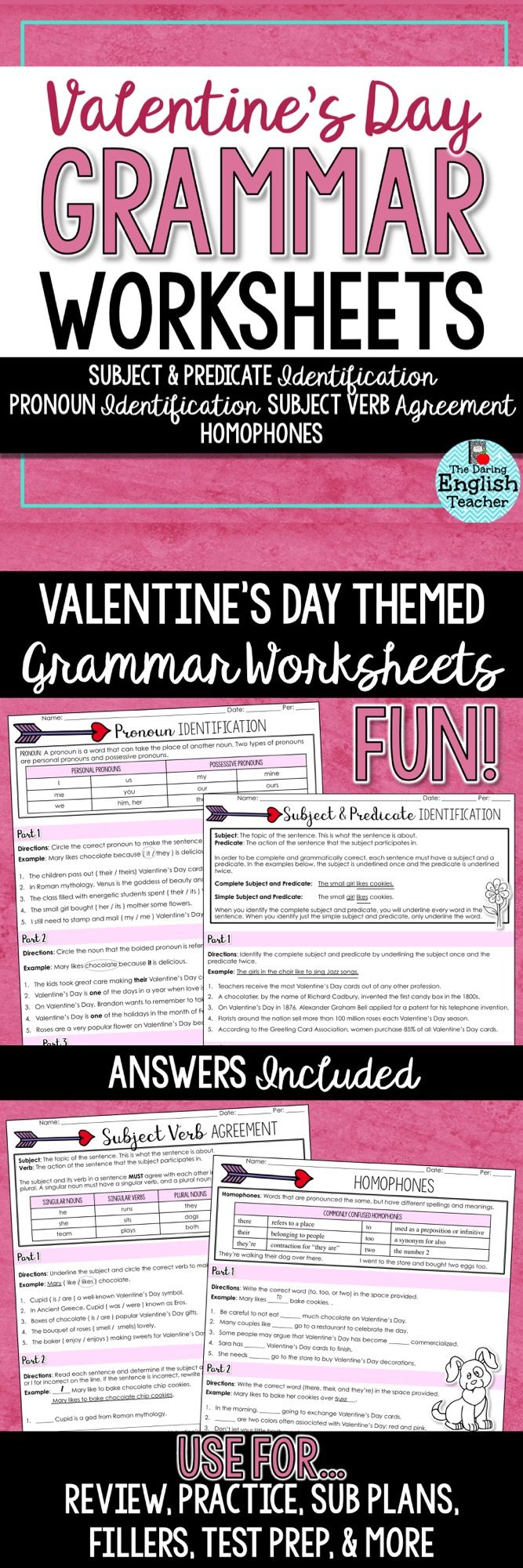 Valentine S Day Grammar Worksheets With Images Grammar Worksheets Middle School Writing School Worksheets [ 2001 x 667 Pixel ]
