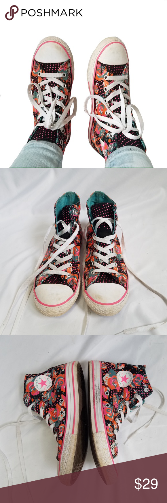 0949200b3f6b Floral high top converse sz U.K. 4 6.5 Floral converse high tops Sz 4.5  which is about 6.5 in women s    Floral pattern Gently used but they look  distressed ...