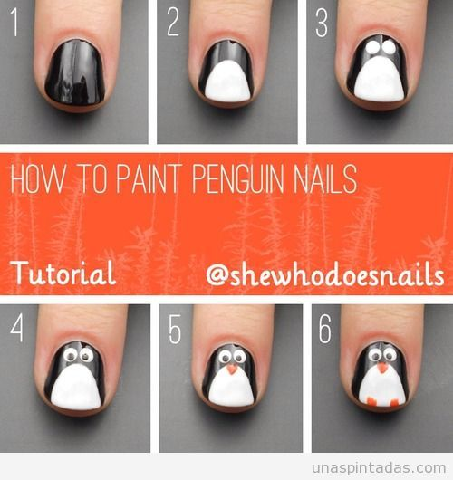 Tutorial Para Aprender A Dibujar Un Pinguino En Las Unas Paso A Paso Nail Art Penguin Nail Art Penguin Nails Christmas Nails Diy