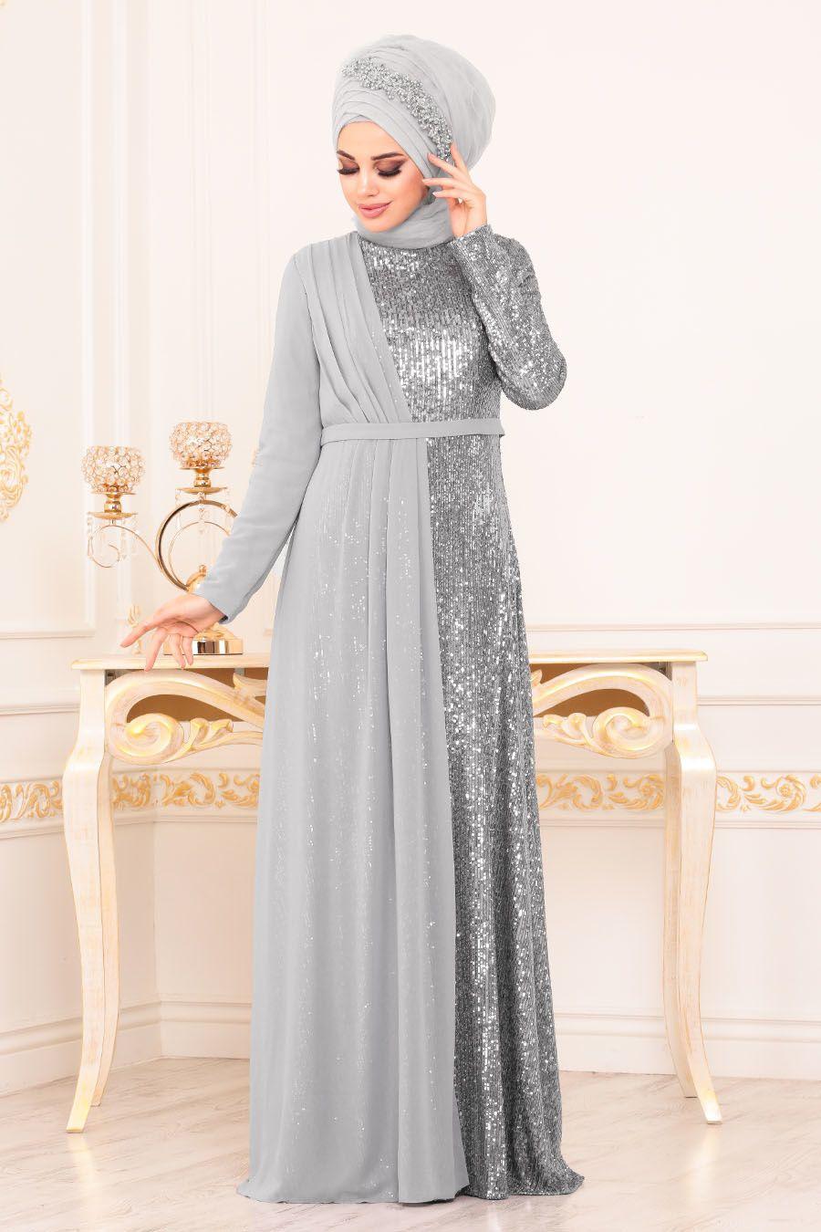 Tesetturlu Abiye Elbise Pul Payetli Gri Tesetturlu Abiye Elbise 85591gr Tesetturisland Com Moda Stilleri Elbise Elbiseler
