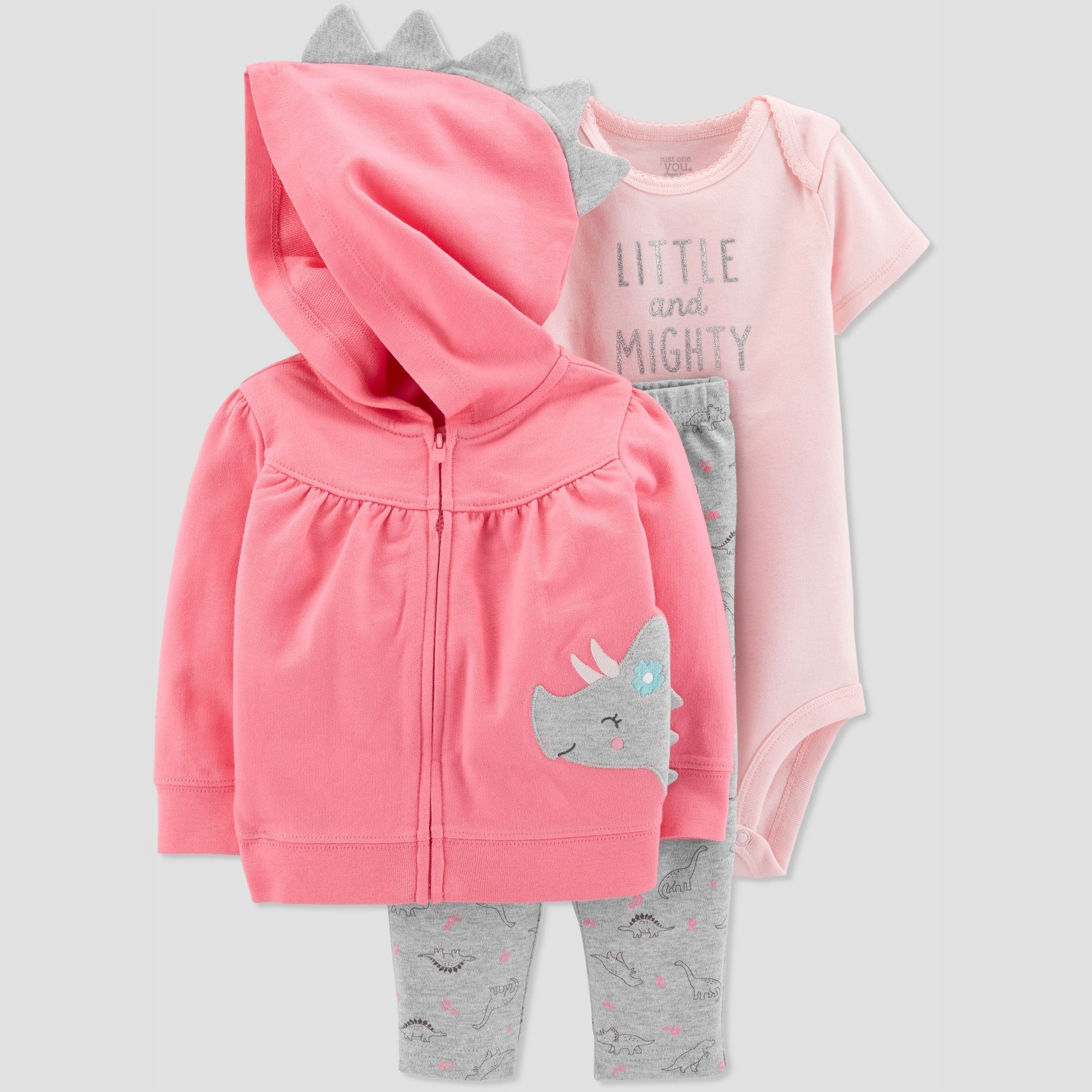 1ec1502774 Baby Girls  3pc Dino Cardigan Set - Just One You made by carter s Pink 6M