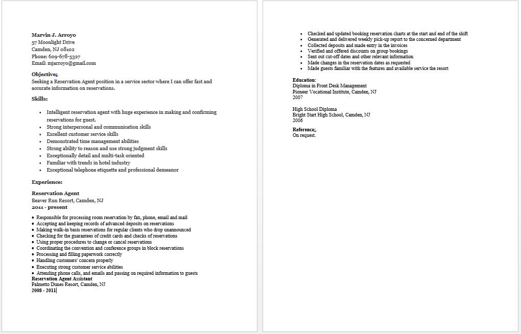Reservation Agent Resume | resume sample | Pinterest