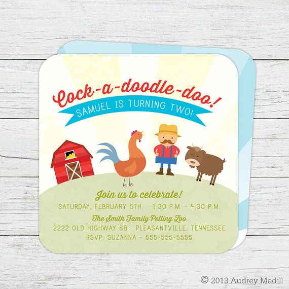 Printable Farm Animals Birthday Invitation