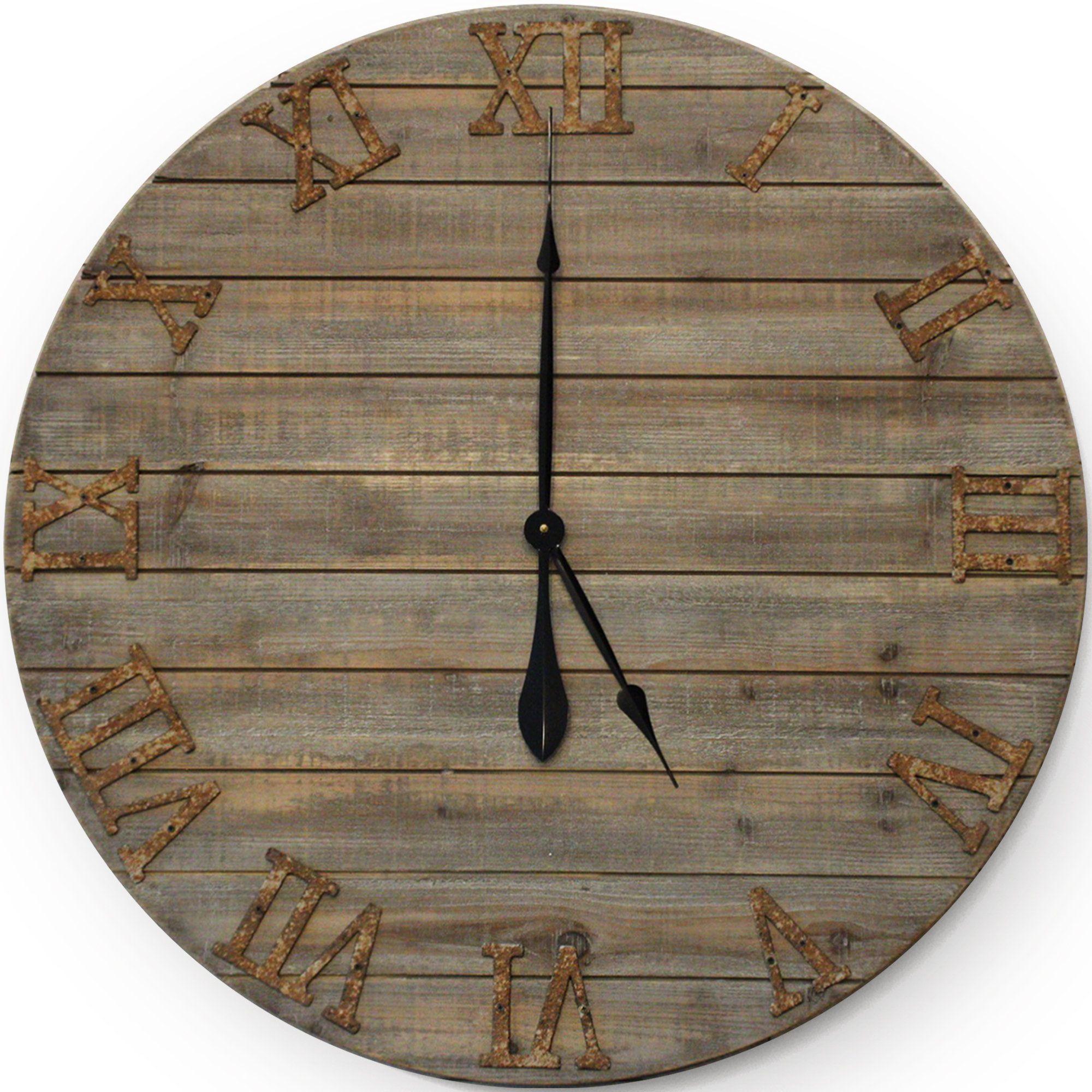 30in large farmhouse wall clock handmade oversized wood
