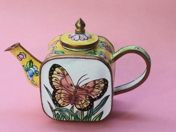Vintage Mini Tea Pot Enamel Butterfly Tea Pot Metal Floral Tea Pot Knick Knack. #knickknack Vintage Mini Tea Pot Enamel Butterfly Tea Pot Metal Floral Tea Pot Knick Knack. #knickknack
