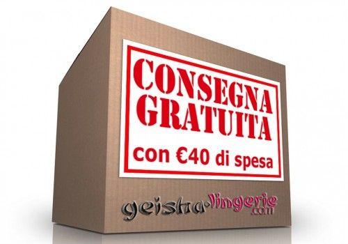 Con un ordine di soli 40 euro, www.geisha-lingerie.com offre la consegna gratuita in tutta Italia. Gli ordini vengono processati entro 24/48 ore e spediti tramite corriere SDA. Ricordiamo che il pacco e' totalmente anonimo.
