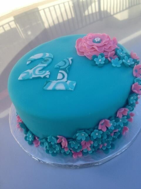 Teal and Pink 21st Birthday Cake Fondant with gumpaste flowers