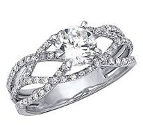 Criss Cross Diamond Engagement Ring With Round Center Stone 3