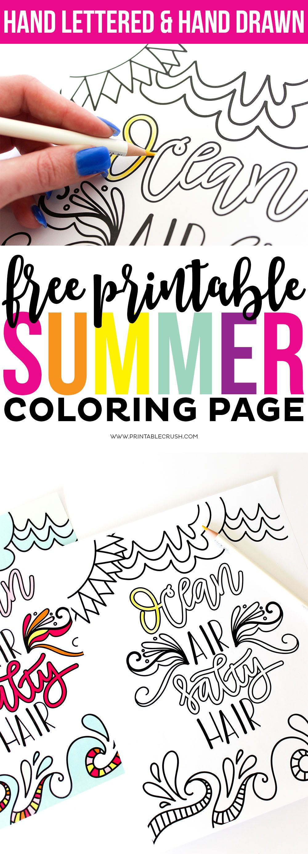 Download This Hand Lettered Free Printable Summer Coloring
