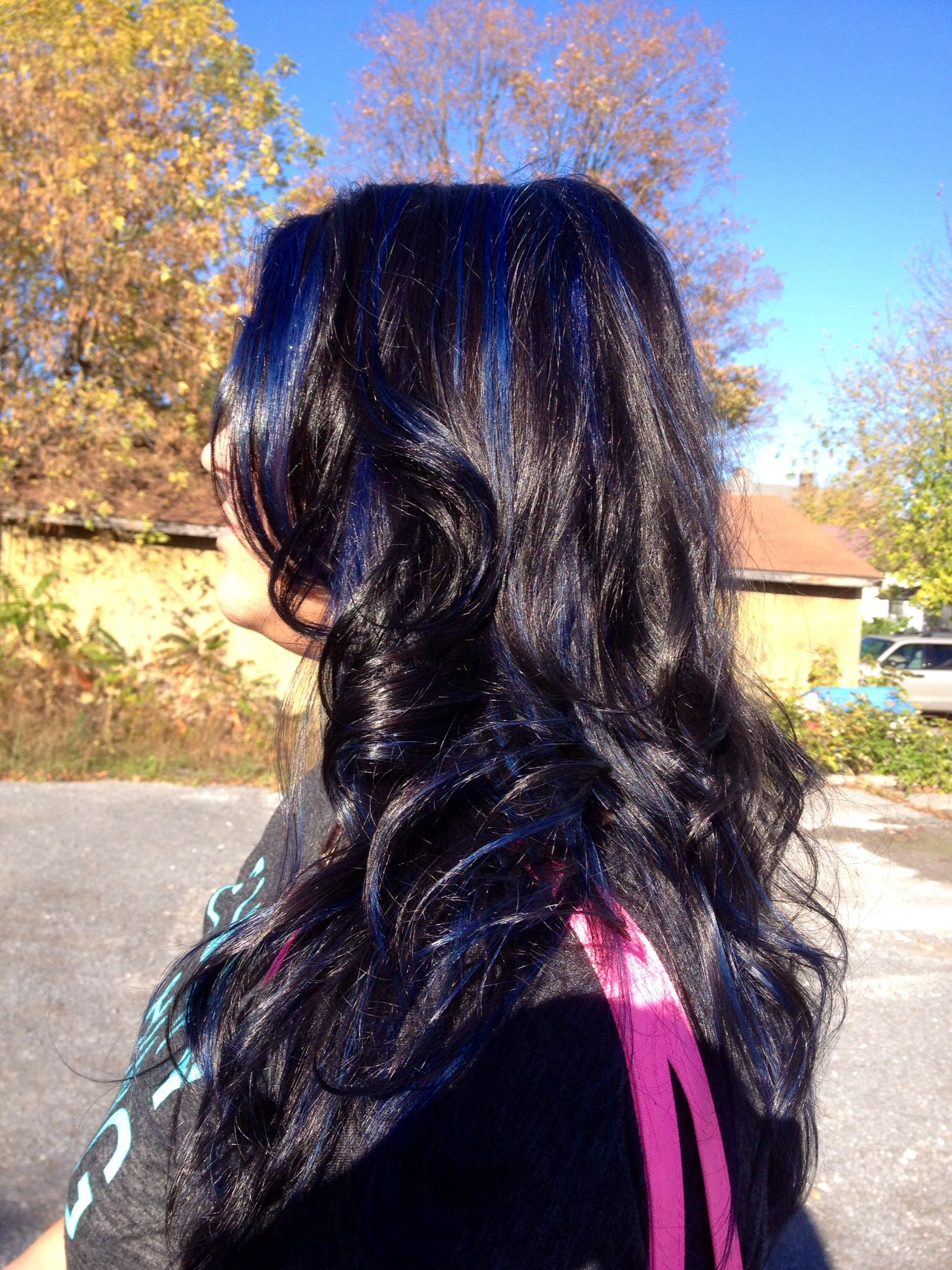 Dark Brown Hair With Blue Highlights Hair Color By Chalaine Archer