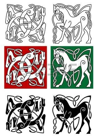 keltische muster: Celtic Pferd und abstrakte Monster mit Ornament im ...