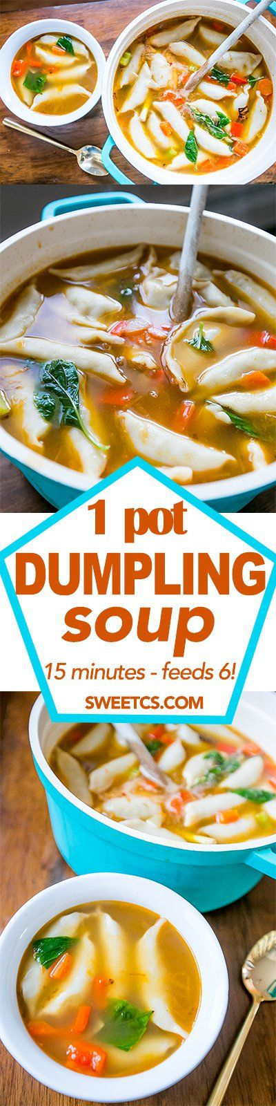 One Pot 15 Minute Potsticker Soup Easy dinner recipes
