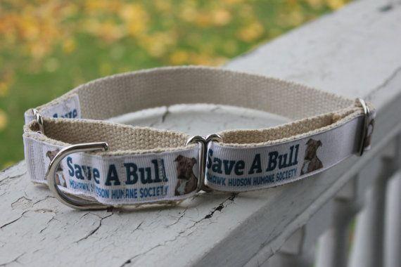 SaveaBull on Hemp 1 Martingale Collar by BULLinACollarShop on Etsy