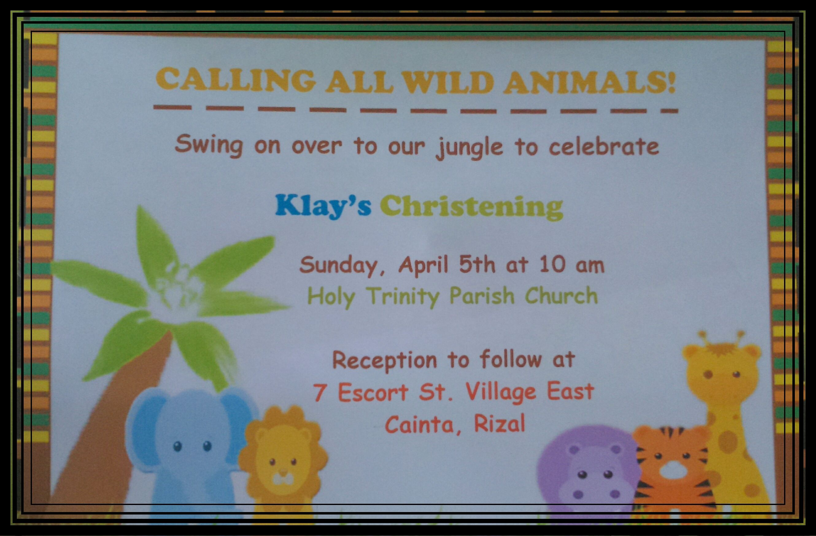 jungle invitation safari christening pinterest ジャングル と
