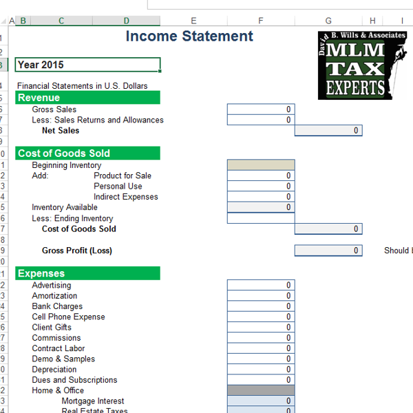 Profit And Loss Excel Sheet For MultiLevel Business  Business
