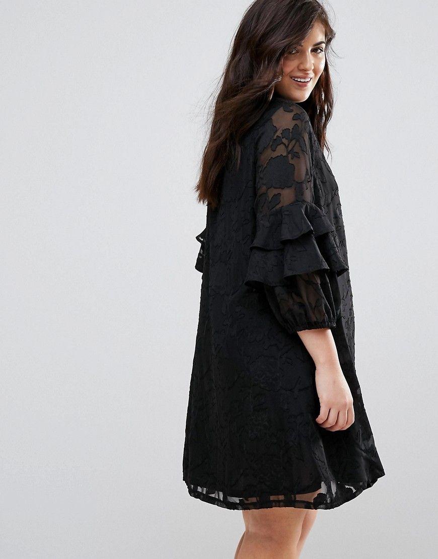 1c1430581e Lovedrobe Ruffle Sleeve Shift Dress In Burnout Floral - Black
