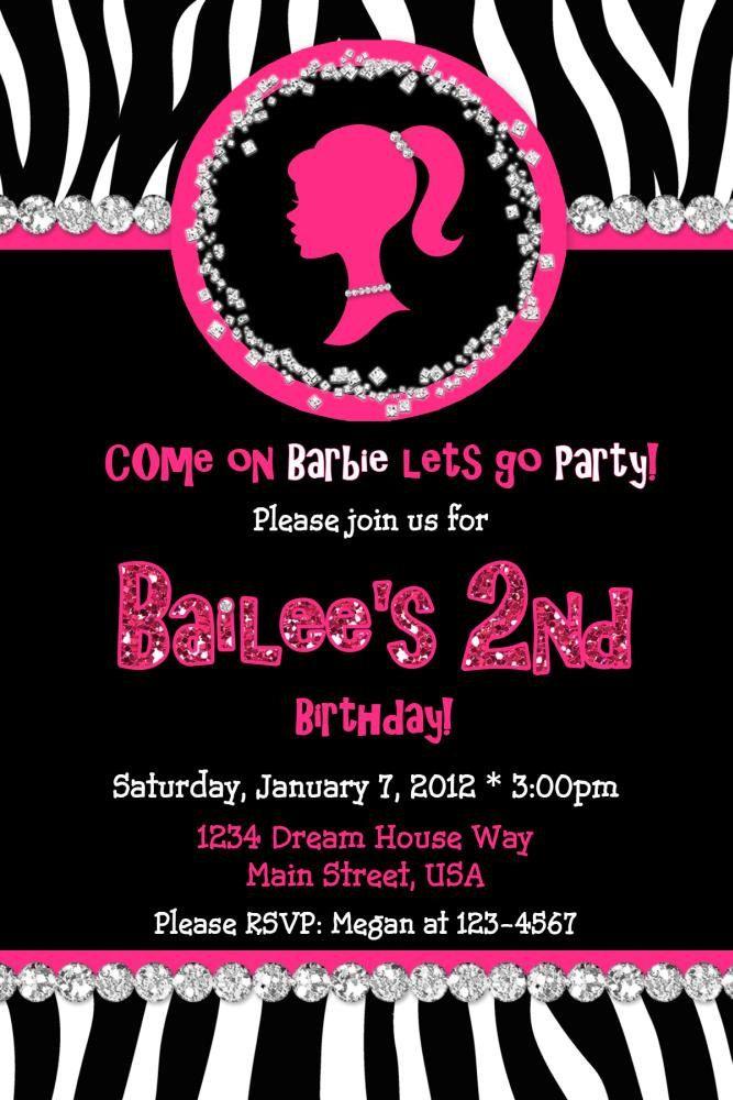 Barbie Silhouette Birthday Invitation Zebra Digital – Zebra Party Invitations
